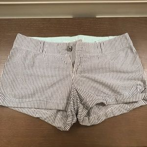 Gray & White Striped Shorts